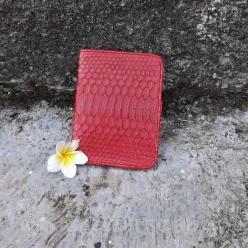 Обложка из натуральной кожи питона красная глянцевая