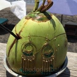 Серьги-кольца с кристаллами зеленые