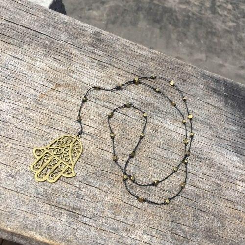 """Ожерелье с подвеской """"Хамса"""" металл"""