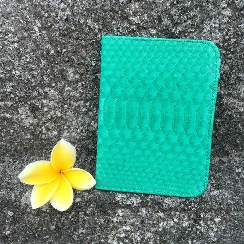 Обложка на паспорт из натуральной кожи питона бирюзовая