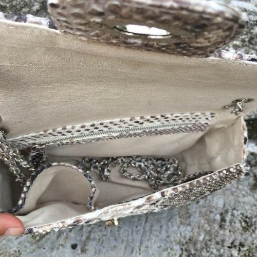 Сумка crossbody из кожи питона MAXI в естественном цвете без покраски