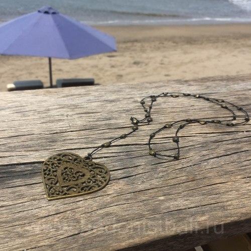 Ожерелье сердцем, металл, бронзовый цвет