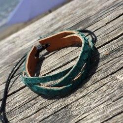 Браслет-косичка из натуральной кожи питона болотно-зеленый