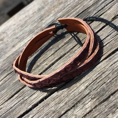 Браслет-косичка из натуральной кожи питона коричневый