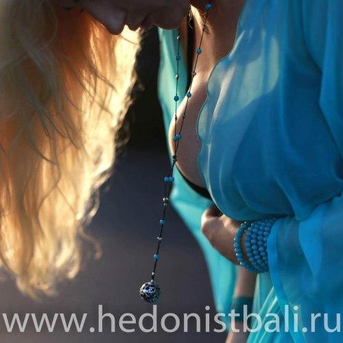 """Ожерелье с подвеской """"шар"""" металл"""