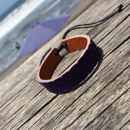 Браслет из натуральной кожи питона тонкий фиолетовый