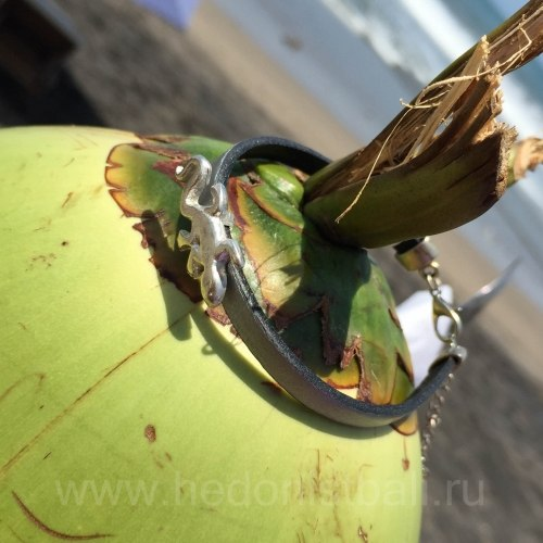 Браслет из натуральной кожи с ящерицей серебристый