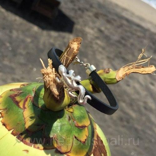 Браслет из натуральной кожи с ящерицей черный