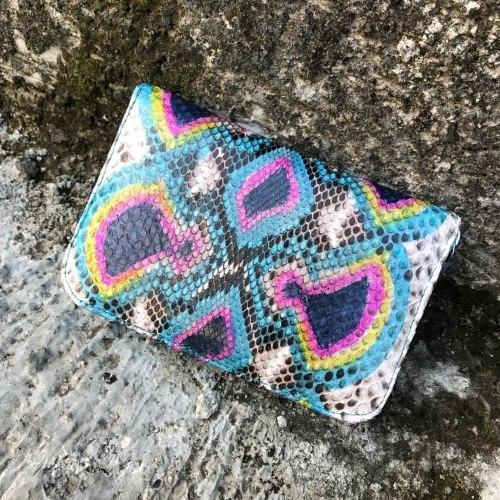 Кошелек из натуральной кожи питона разноцветный бирюзовый размер XS