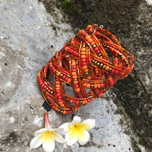 Браслет из бисера широкий косичка оранжевый