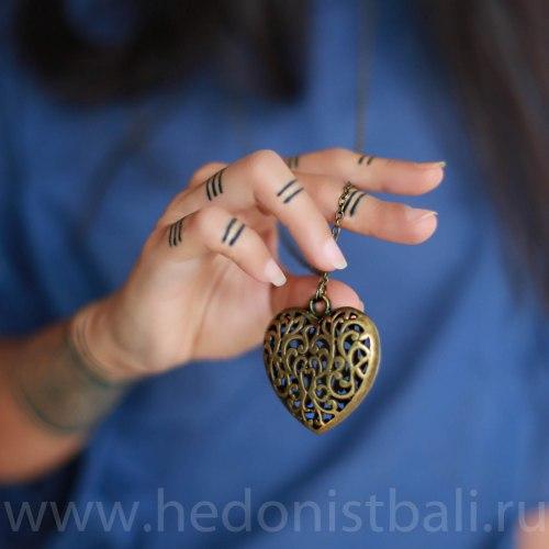 Ожерелье с сердцем на цепочке, металл, бронзовый цвет