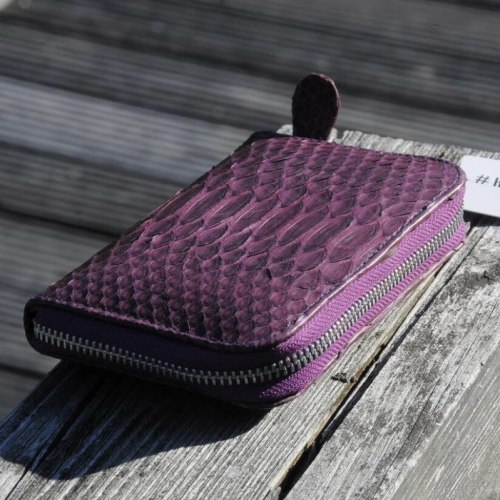 Кошелек из натуральной кожи питона фиолетовый размер XS