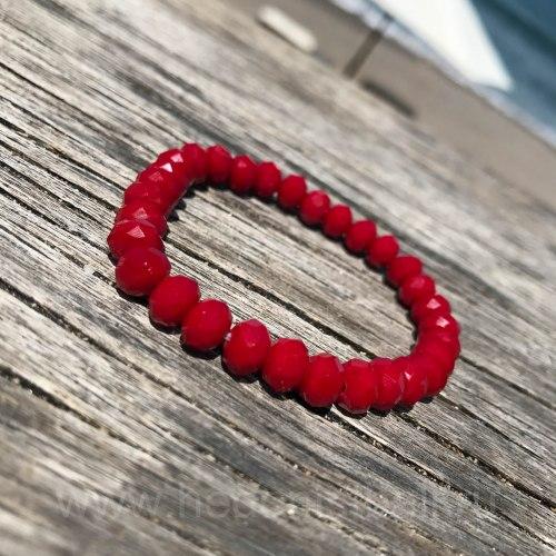 Браслет из хрустальных бусин красно-бордовый