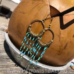 Серьги-кольца с бисером бирюзовые