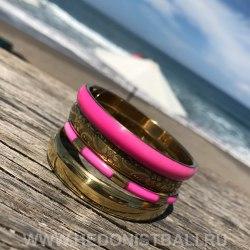 Комплект браслетов розово-золотой
