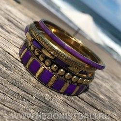 Комплект браслетов фиолетовый с золотым