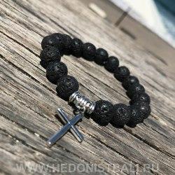 Браслет из лавового камня с крестом