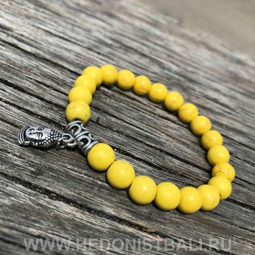 Браслет из говлита желтого цвета c подвеской Будда