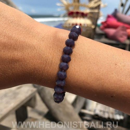 Браслет из хрустальных бусин фиолетовый