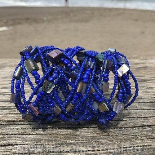 Браслет из бисера широкий косичка синий с перламутром