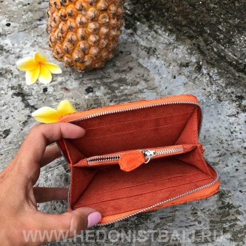 Кошелек из натуральной кожи питона оранжевый размер XS