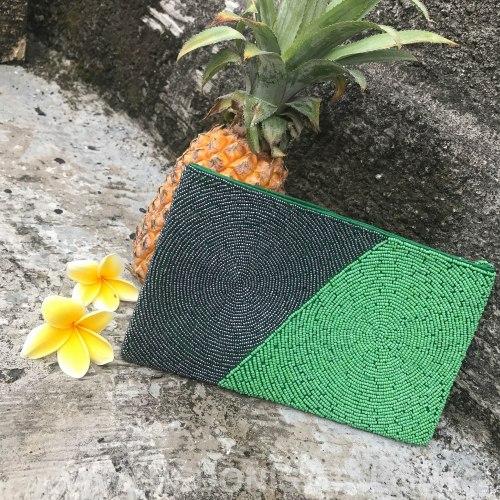 Клатч из бисера серо-зеленый