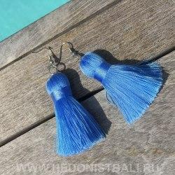 Серьги-кисточки голубые 8 см