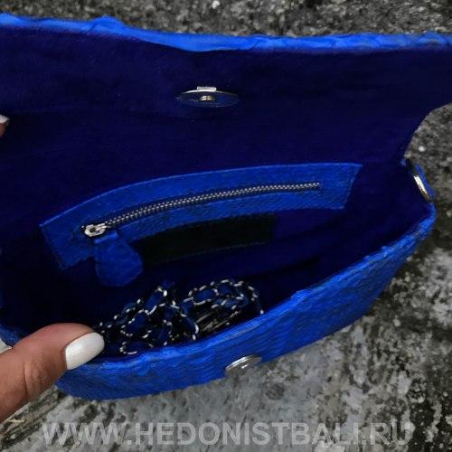 Cумка crossbody TASSEL S ярко-синяя c орнаментом