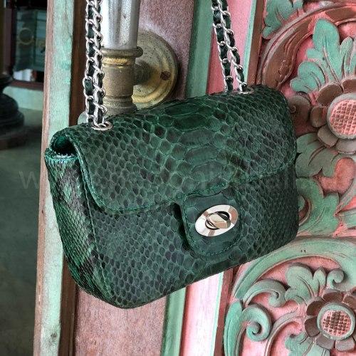 Сумка crossbody из натуральной кожи питона MINI изумрудно-зеленая