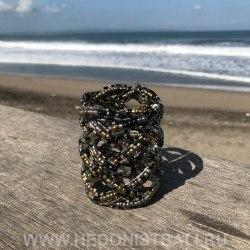 Браслет из бисера широкий косичка серебристо-черно-золотой