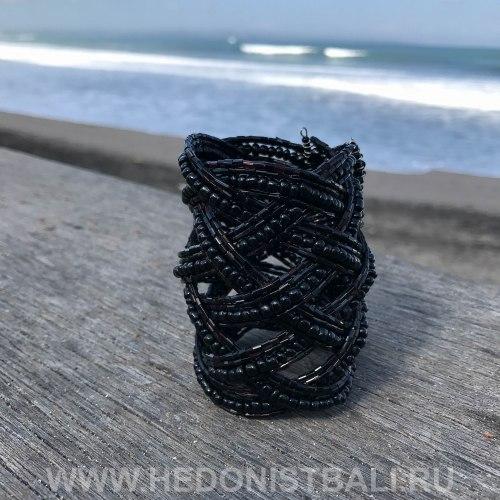 Браслет из бисера широкий косичка черный