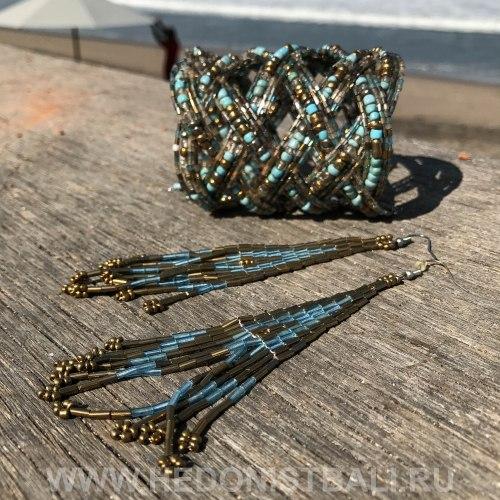 Серьги-кисти из бисера бирюзово-золотистые