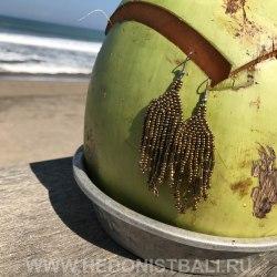 Серьги-кисти из бисера бронзового цвета