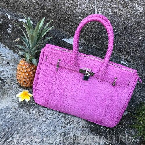 Сумка из натуральной кожи питона с замочком розовая