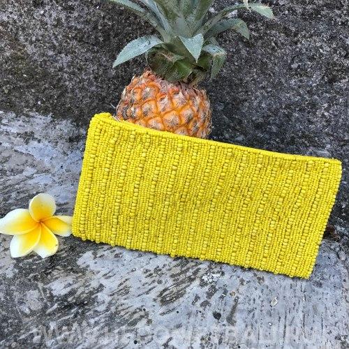 Клатч из бисера желтый с полосками