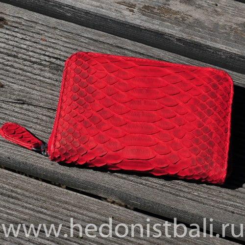 Кошелек из натуральной кожи питона красный c орнаментом размер XS