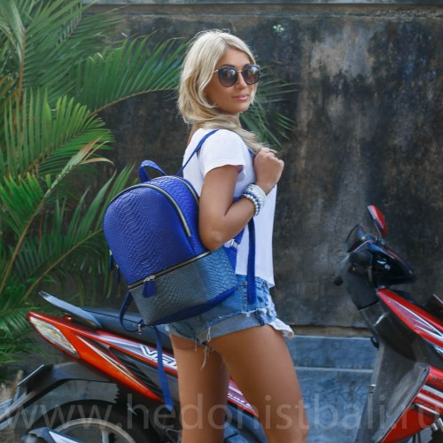 Рюкзак из натуральной кожи питона MICHELE двухцветный сине-серый