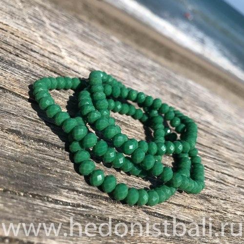 Браслет из хрустальных бусин темно-зеленый 6 мм