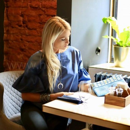 Блузка с объемными рукавами DAHLIA синяя