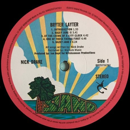 Виниловая пластинка NICK DRAKE - BRYTER LAYTER