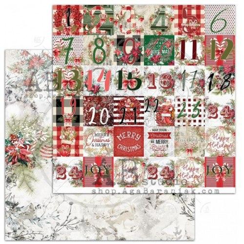 """Лист двусторонней бумаги """"Christmas calendar"""" 30,5*30,5см, ABstudio"""