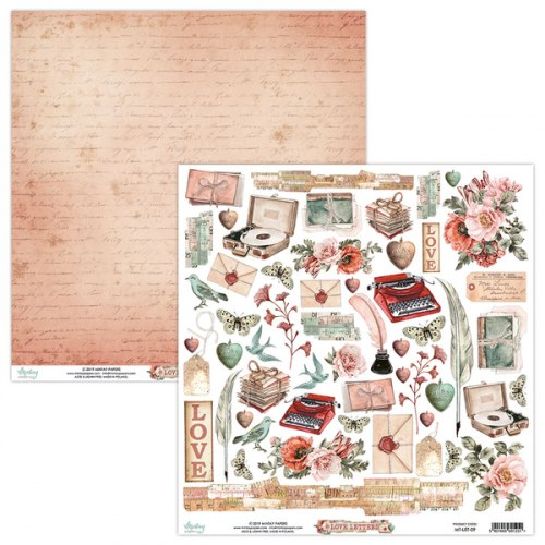 Лист для вырезания Love Letters, 30.5х30.5см, Mintay Papers