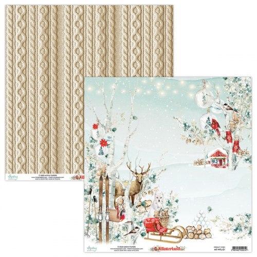 Лист двусторонней бумаги Winterland-01, 30.5х30.5см, Mintay Papers