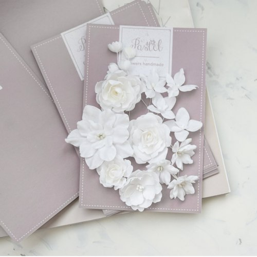 """Набор цветов """"Базовый микс"""" белый, Pastel Flowers"""