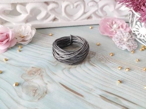 Шнур вощеный, цвет графит, 1.2 мм., хлопок