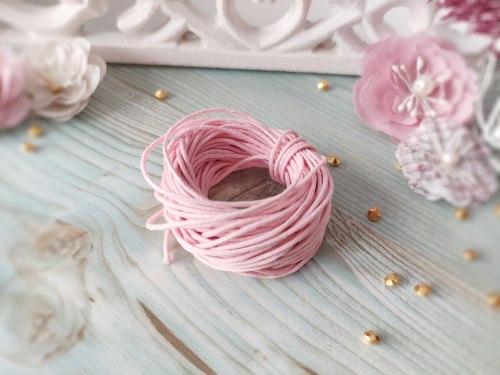 Шнур вощеный, цвет нежно-розовый, 1.2 мм., хлопок