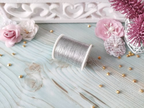 Нитки швейные металлизированные, цвет серебро, 100 м