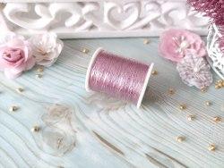 Нитки швейные металлизированные, цвет розовый, 100 м