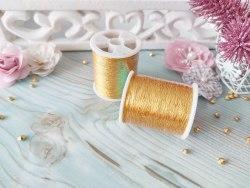 Нитки швейные металлизированные, цвет золото, 100 м