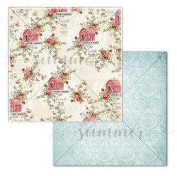 "Лист двусторонней бумаги ""Farm flowers"", 30,5*30,5см, Summer Studio Farmhouse"